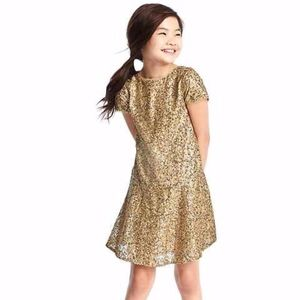 Gap girls gold sequined dress with peplum